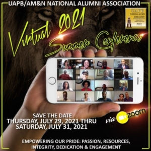 Banner for the 2021 UAPB AM&N Alumni Association Virtual Conference